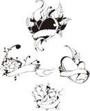 κορδέλλες καρδιών λουλουδιών ελεύθερη απεικόνιση δικαιώματος