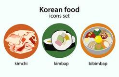 Κορεατικά εικονίδια σχεδίου τροφίμων επίπεδα καθορισμένα Στοκ Φωτογραφία