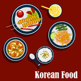 Κορεατικά τρόφιμα και ποτά κουζίνας ελεύθερη απεικόνιση δικαιώματος
