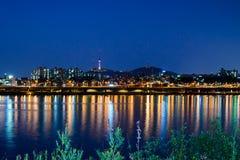 Κορεατική εικονική παράσταση πόλης στη νύχτα Στοκ Φωτογραφία