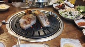 Κορεατική κοιλιά χοιρινού κρέατος σχαρών, samgyeopsal-Gui Στοκ φωτογραφία με δικαίωμα ελεύθερης χρήσης