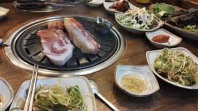 Κορεατική κοιλιά χοιρινού κρέατος σχαρών, samgyeopsal-Gui Στοκ Εικόνες
