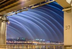 Κορεατική πηγή γεφυρών στη νύχτα Στοκ Φωτογραφία