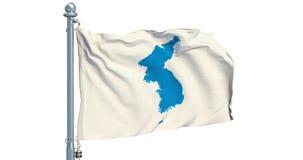 Κορεατική σημαία ενοποίησης στο άσπρο υπόβαθρο, ζωτικότητα τρισδιάστατη απόδοση απόθεμα βίντεο