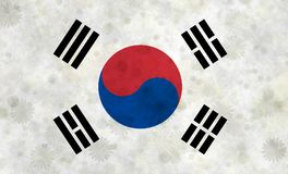 Κορεατική σημαία με τα κίνητρα ανθών Στοκ εικόνες με δικαίωμα ελεύθερης χρήσης