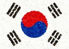 Κορεατική σημαία με τα κίνητρα ανθών Στοκ Φωτογραφίες
