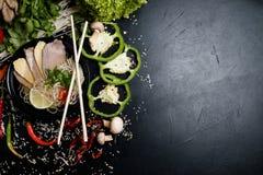 Κορεατική σούπα νουντλς διατροφής διατροφής κουζίνας υγιής Στοκ Φωτογραφία