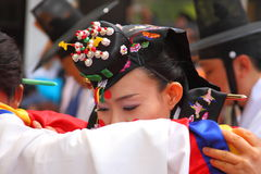 κορεατικός παραδοσιακός γάμος απόδοσης Στοκ εικόνα με δικαίωμα ελεύθερης χρήσης