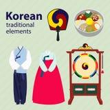 Κορεατικό παραδοσιακό διανυσματικό σύνολο στοιχείων Στοκ φωτογραφίες με δικαίωμα ελεύθερης χρήσης