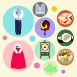 Κορεατικό παραδοσιακό διανυσματικό σύνολο στοιχείων Στοκ εικόνα με δικαίωμα ελεύθερης χρήσης