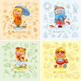 Κοριτσάκι και οι τέσσερις εποχές διανυσματική απεικόνιση