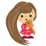 Κοριτσάκι με το κατοικίδιο ζώο. κατσίκι με τη γάτα Στοκ φωτογραφία με δικαίωμα ελεύθερης χρήσης