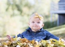 Κοριτσάκι με το τόξο στο επικεφαλής παιχνίδι με τα φύλλα μια ημέρα πτώσης Στοκ Εικόνα