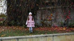 Κοριτσάκι που βρίσκεται στα φύλλα φθινοπώρου στο ρόδινο παλτό απόθεμα βίντεο
