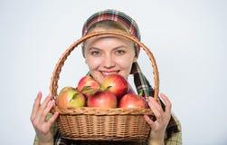 Κοριτσιών άσπρο υπόβαθρο μήλων λαβής ύφους κηπουρών αγροτικό Υγειονομική περίθαλψη και διατροφή βιταμινών Τέλειο μήλο Μανάβικο στοκ εικόνα