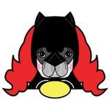 Κοριτσιών δωματίων παιδιών ύφους χαριτωμένο γαλλικό διάνυσμα χαρακτήρα κόμικς Superhero σκυλιών μπουλντόγκ θηλυκό στο ύφος γυναικ στοκ εικόνα με δικαίωμα ελεύθερης χρήσης