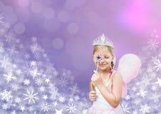 Κοριτσιών και Snowflake νεράιδων παγωμένα πριγκήπισσα σχέδια Χριστουγέννων Στοκ Φωτογραφίες