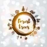 Κορμός δέντρων περικοπών πριονιών και δασικά δέντρα ελεύθερη απεικόνιση δικαιώματος