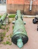 Κορμός χαλκού του πυροβόλου όπλου πολιορκίας του πρώτου μισού του 18ου σεντ Στοκ φωτογραφία με δικαίωμα ελεύθερης χρήσης