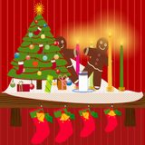 Κορνίζα τζακιού Χριστουγέννων Στοκ φωτογραφίες με δικαίωμα ελεύθερης χρήσης