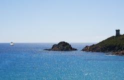 Κορσική, παραλία, πύργος Genoese, θάλασσα, νότος, ακτή, Γαλλία, Ευρώπη, νησί, καλοκαίρι, Στοκ Φωτογραφίες