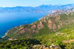 Κορσική Corse-du-sud, περιοχή Piana Στοκ φωτογραφίες με δικαίωμα ελεύθερης χρήσης