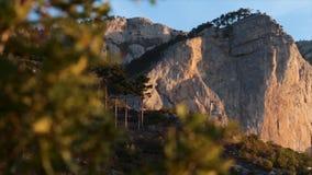 Κορυφές των βουνών με ένα πυκνό κωνοφόρο δάσος στις ακτίνες του ήλιου πρωινού με ένα θερινό μάραθο πλάνο πανοραμικός φιλμ μικρού μήκους