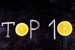 κορυφή 10 Γραπτός στην κιμωλία Στοκ Φωτογραφία