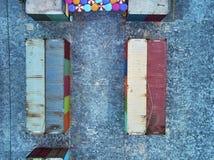 Κορυφή κάτω από την άποψη μιας αγοράς εμπορευματοκιβωτίων στην Καμπότζη Ασία Στοκ εικόνες με δικαίωμα ελεύθερης χρήσης
