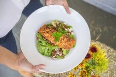 Κορυφή κάτω από τον πυροβολισμό της σαλάτας σολομών Στοκ Εικόνες