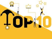Κορυφή οι Δέκα έννοιας λέξης και άνθρωποι που κάνουν τις δραστηριότητες ελεύθερη απεικόνιση δικαιώματος