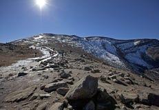Κορυφή του βουνού πυραμίδων, ιάσπιδα Αλμπέρτα Στοκ Εικόνες