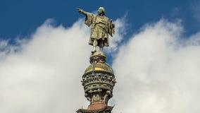 Κορυφή του μνημείου timelapse hyperlapse Mirador de Colom του Columbus στη Βαρκελώνη, Καταλωνία, Ισπανία απόθεμα βίντεο
