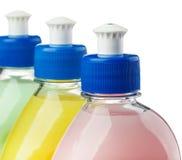 Κορυφή τριών διαφορετική μπουκαλιών που απομονώνεται στο λευκό Στοκ Εικόνες
