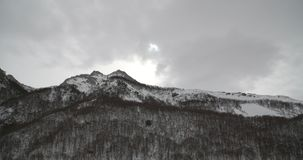 Κορυφή των βουνών που καλύπτονται από το χιόνι και που περιβάλλονται από ένα δάσος απόθεμα βίντεο