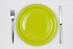 κορυφαία όψη πιάτων μαχαιρ&iota Στοκ φωτογραφία με δικαίωμα ελεύθερης χρήσης