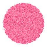 κορυφαία όψη τριαντάφυλλων ανθοδεσμών Τυποποιημένα λουλούδια Απομονωμένη ρόδινη συρμένη χέρι τέχνη γραμμών απεικόνιση αποθεμάτων