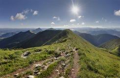 Κορυφογραμμή θερινών βουνών στο εθνικό πάρκο Mala Fatra, Σλοβακία Στοκ Φωτογραφία