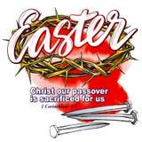 Κορώνα των αγκαθιών, καρφιά, θρησκευτικό σύμβολο Πάσχας συρμένου διανυσματικού σκίτσου απεικόνισης χριστιανισμού του χέρι Στοκ Εικόνα