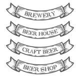 Κορδέλλα εμβλημάτων αγοράς καταστημάτων ζυθοποιείων μπύρας τεχνών Μονοχρωματικός μεσαιωνικός καθορισμένος τρύγος διανυσματική απεικόνιση