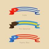 Κορδέλλα με τη σημαία της Κούβας, των Μπαχαμών και του Πουέρτο Ρίκο Στοκ Εικόνες