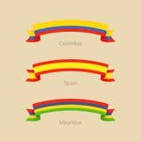 Κορδέλλα με τη σημαία της Κολομβίας, της Ισπανίας και του Μαυρίκιου Στοκ φωτογραφία με δικαίωμα ελεύθερης χρήσης