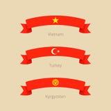 Κορδέλλα με τη σημαία του Βιετνάμ, της Τουρκίας και του Κιργιστάν Στοκ Εικόνες