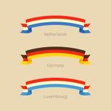 Κορδέλλα με τη σημαία των Κάτω Χωρών, της Γερμανίας και του Λουξεμβούργου Στοκ Εικόνες