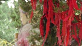 Κορδέλλα που τυλίγεται κόκκινη γύρω από τους κλάδους Γλυπτό της Κίνας Fortuna στο ναό ιστορικός-γλυπτό & μνημεία φιλμ μικρού μήκους