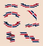 Κορδέλλες ή εμβλήματα στα χρώματα της δομινικανής σημαίας Στοκ Φωτογραφία