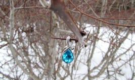 Κοσμήματα στο λαιμό υπό μορφή πτώσεων σε έναν κλάδο Στοκ φωτογραφία με δικαίωμα ελεύθερης χρήσης