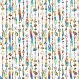 Κοσμήματα Watercolor με τα κοχύλια θάλασσας, χάντρες, άνευ ραφής σχέδιο φτερών διανυσματική απεικόνιση