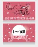 Κοσμικές κάρτες για την αγάπη με τον γάτα-αστροναύτη doodle και το υπόβαθρο αστεριών Στοκ εικόνα με δικαίωμα ελεύθερης χρήσης