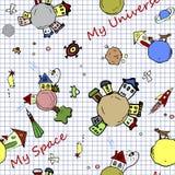 Κοσμική άνευ ραφής απεικόνιση doodle υποβάθρου τυποποιημένη κατώτερη στη σελίδα σχολικών σημειωματάριων Παιδαριώδες υπόβαθρο κόσμ Στοκ φωτογραφία με δικαίωμα ελεύθερης χρήσης